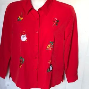 Blair Holiday Christmas embroidered blouse Large